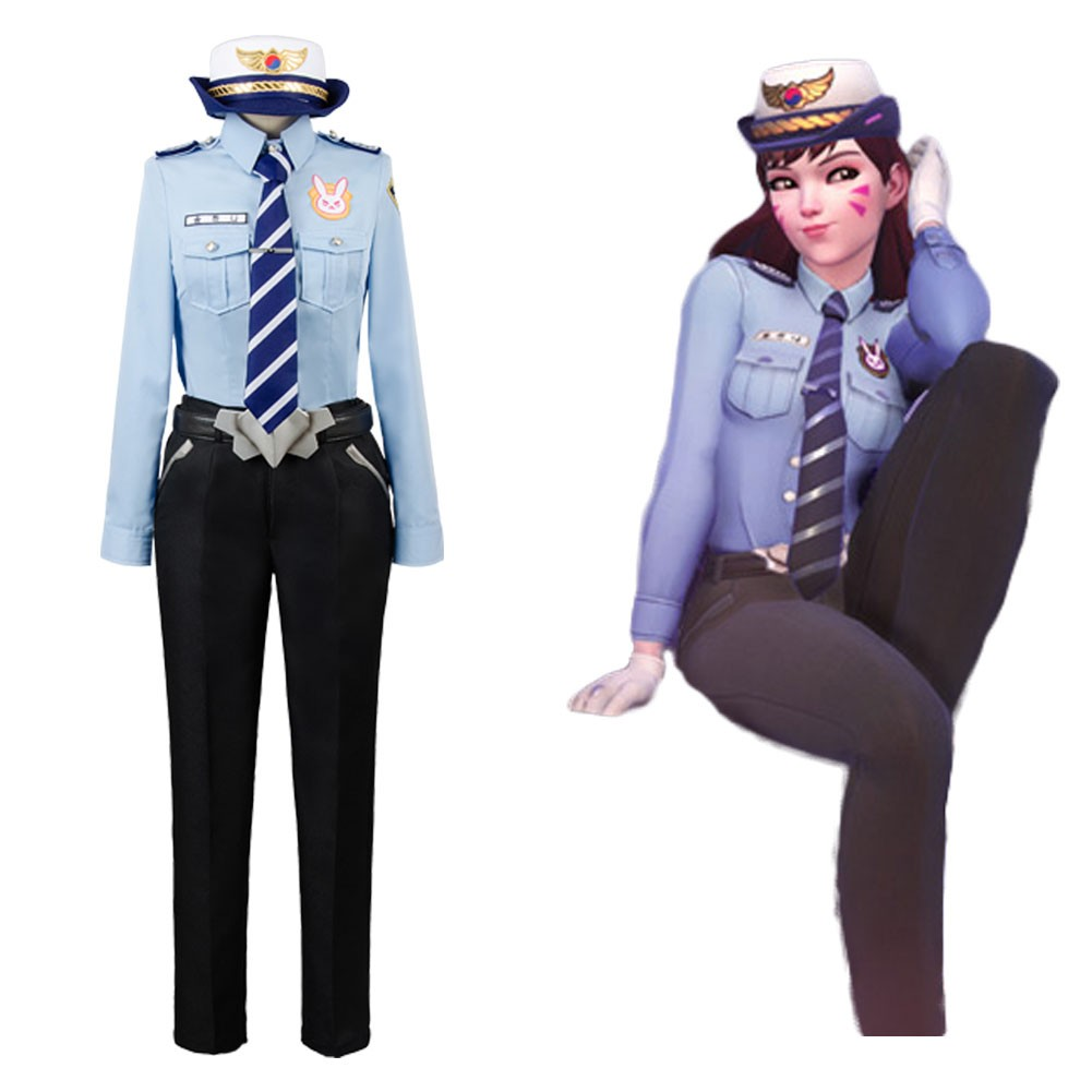 Hana Song Overwatch D.VA DVA Police Officer Uniform Cosplay Costume  sc 1 st  Skycostume.com & Hana Song Overwatch D.VA DVA Police Officer Uniform Cosplay Costume ...