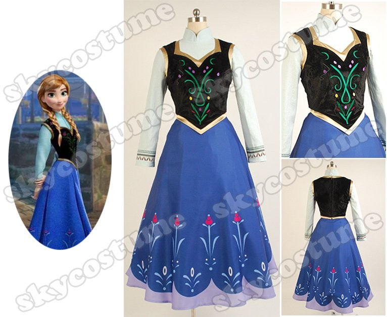 Disney Film Frozen Princess Anna Dress suit Movie Cosplay Costume from Frozen