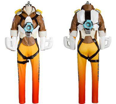 Lena Oxton Overwatch OW Tracer Outfit Battle Suit Cosplay Costume