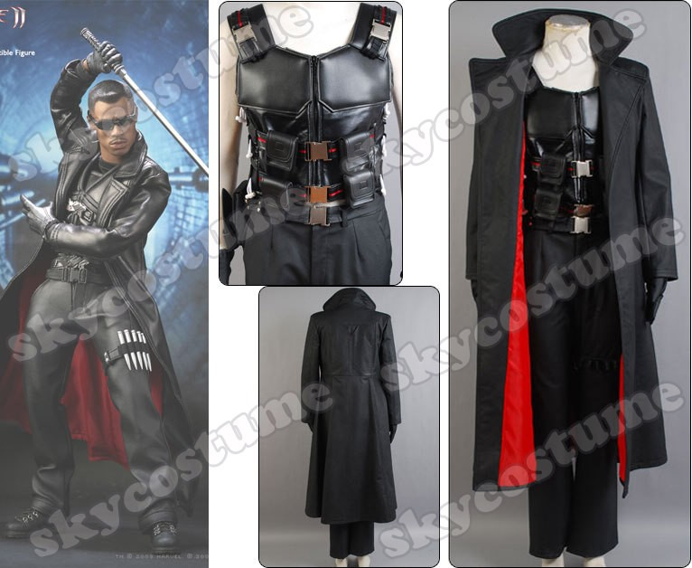 Blade Wesley Snipes the Vampire Slayer Coat Costume Vest Pants Set from Blade