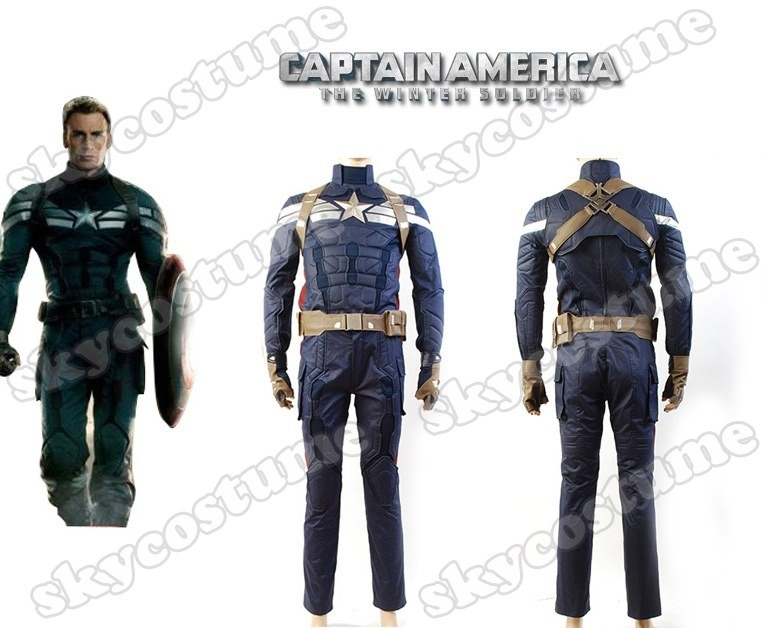 New Halloween costumes Captain America 2 The Winter Soldier Steve Rogers Uniform Outfit Movie Cosplay Costume