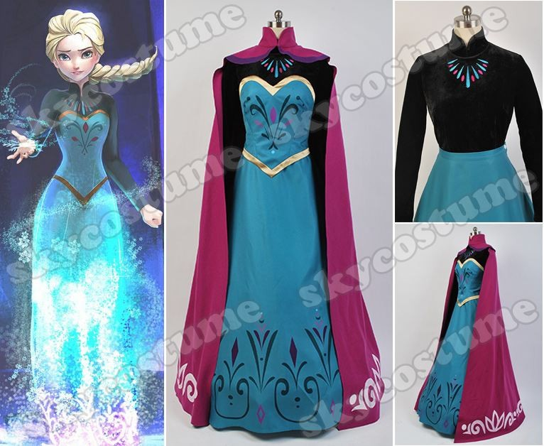 Disney Movie Frozen Elsa Coronation Dress Cloak Suit  Cosplay Costume from Frozen