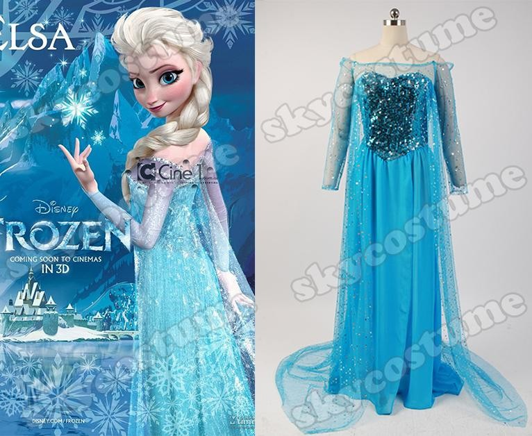 Frozen Snow Queen Elsa Fancy Blue Dress Suit Movie Cosplay Costume From