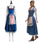 Belle Emma Beauty and the Beast 2017 Film Watson Cosplay Costume Maid Suit Dress