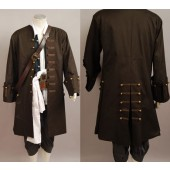 Jack Sparrow Pirates Of The Caribbean Jacket Vest Belt Shirt Pants Costume Set