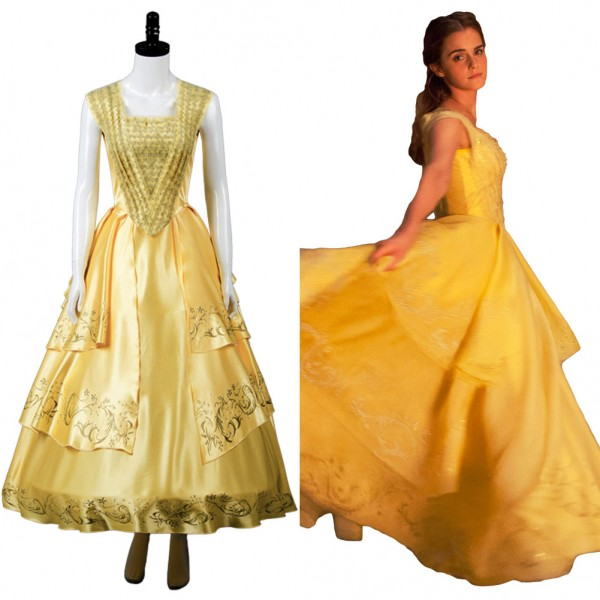 Belle Beauty And The Beast 2017 Movie Emma Cosplay Costume Yellow Gown Dress