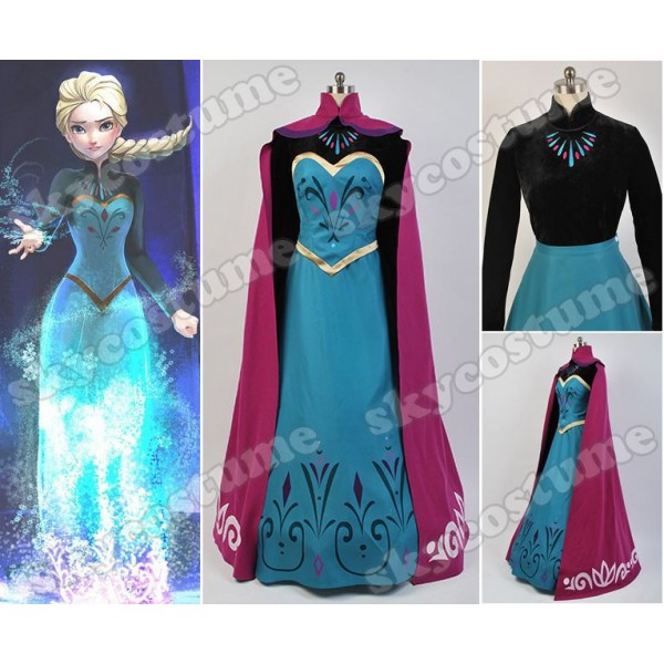 Disney Movie Frozen Elsa Coronation Dress Cloak Suit Cosplay ...