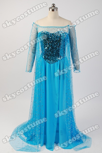 Frozen Snow Queen Elsa Fancy Blue Dress Suit Movie Cosplay