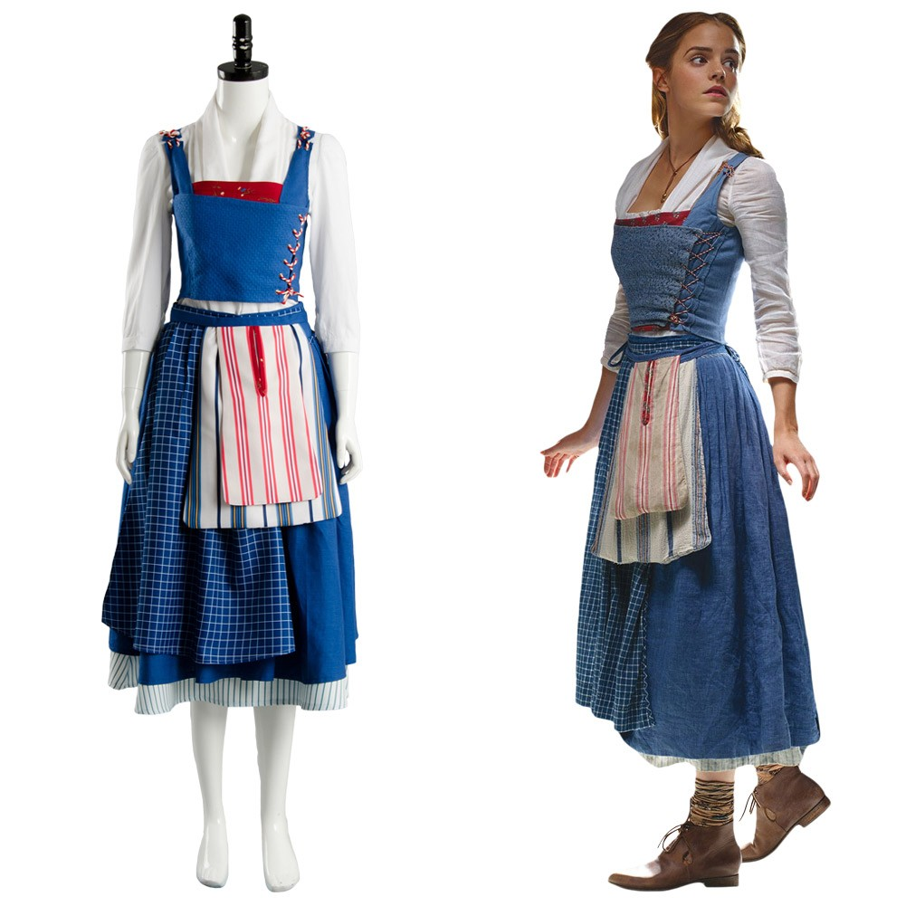 947e39a516 Belle Emma Beauty and the Beast 2017 Film Watson Cosplay Costume Maid Suit  Dress