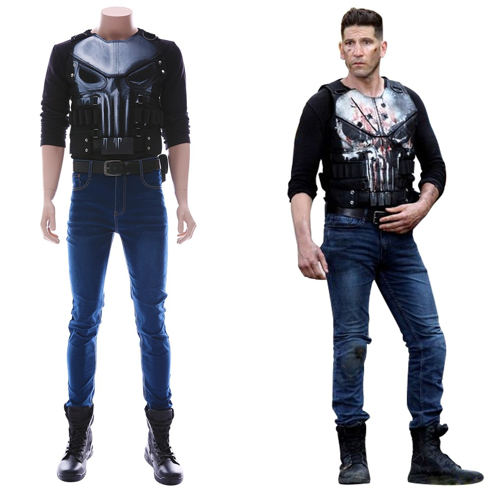 Details about  /The Punisher And Punisher Frank Castle Cosplay Costume Halloween Party Clothing