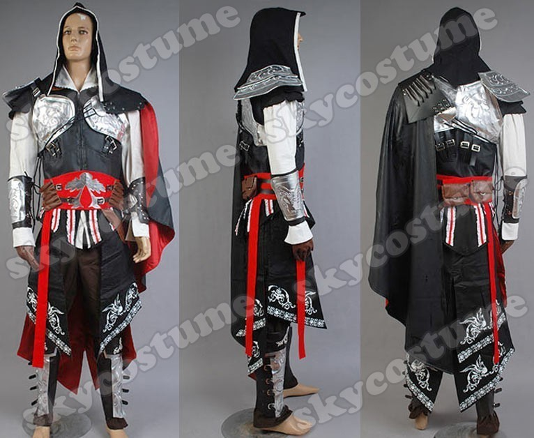 Assassin s Creed 2 II Ezio Black Outfit Cosplay Costume New Version from  Assassin s ... 95d4042799c4