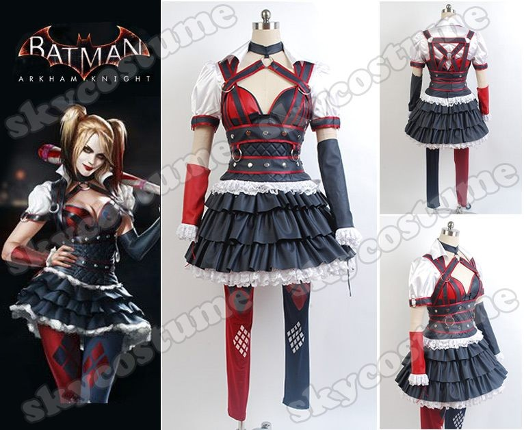 5633aff72daf Batman  Arkham Knight Harley Quinn Dress Cosplay Costume -Skycostume