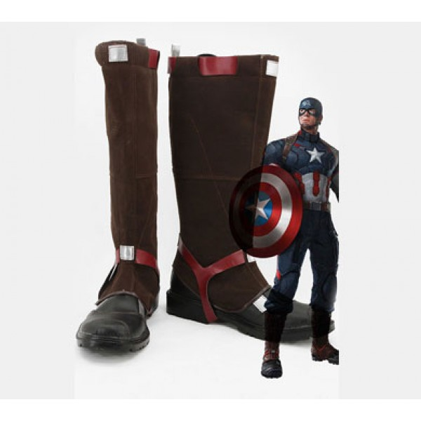 The Avengers: Age of Ultron Captain America Steve Rogers Cosplay Boots - DeluxeAdultCostumes.com
