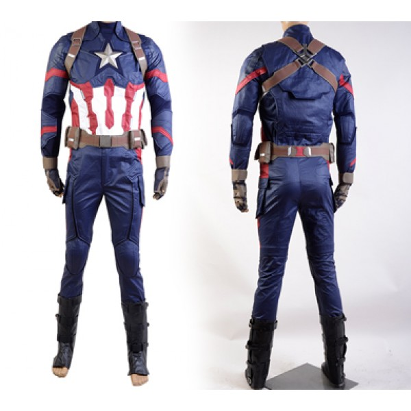 Captain America: Civil War Steve Rogers Uniform Cosplay Costume - DeluxeAdultCostumes.com