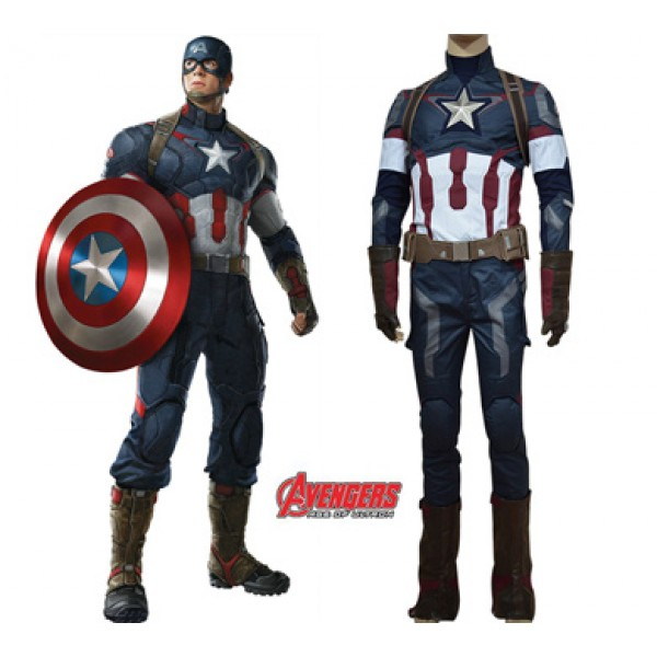 Avengers: Age of Ultron Captain America Steve Rogers Uniform Cosplay Outfit - DeluxeAdultCostumes.com
